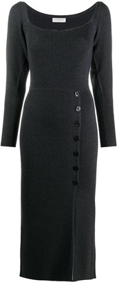 Sandro Buttoned Ribbed Knit Dress