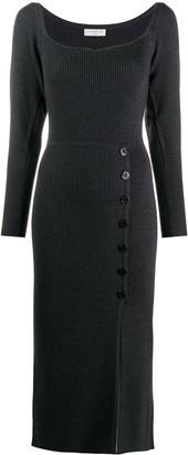 Sandro Paris Buttoned Ribbed Knit Dress