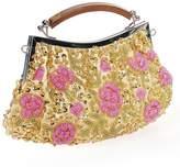 BMC Womens Tiny Bead Encrusted Pink Flower Design Clutch Evening Bag