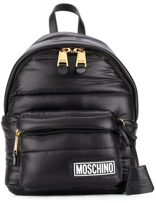 Moschino Logo-Patch Quilted Backpack
