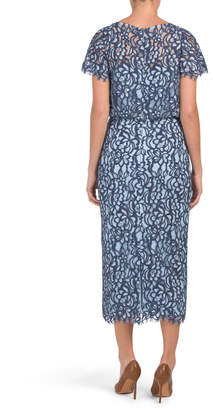 Embroidered Blouson Midi Dress