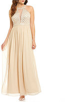 JS Collections Halter Neck Sleeveless Beaded Bodice Ball Gown