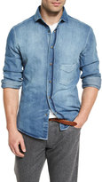 Brunello Cucinelli Light-Wash Long-Sleeve Denim Shirt