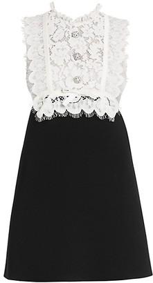 Miu Miu Lace-Trim Bodice Mini Dress