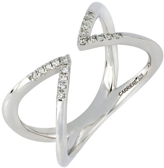 Carriere Sterling Silver Pave Diamond Pointed Open Ring - 0.09 ctw