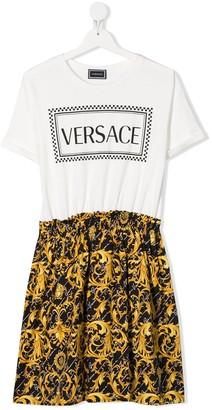 Versace TEEN baroque logo dress