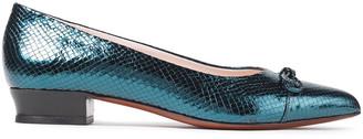 ALEXACHUNG Bow-embellished Metallic Lizard-effect Leather Flats