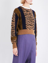 Toga Ladies Beige Embroidered Soft Tiger-Embroidered Wool-Blend Sweater