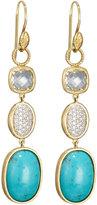 Jude Frances 18k White Topaz, Diamond & Turquoise Triple-Drop Earring Charms