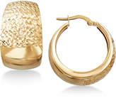 Macy's Wide Textured Hoop Earrings in Italian 14k Gold
