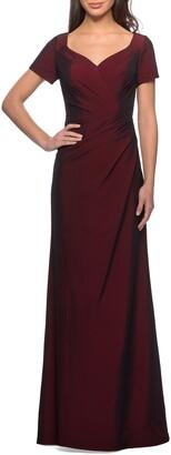 La Femme Sweetheart Neck Jersey Gown