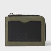 Paul Smith Men's Khaki Leather PS Logo Corner Zip Wallet
