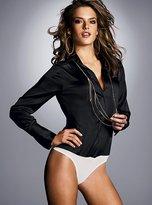 Silk charmeuse classic button-up bodysuit