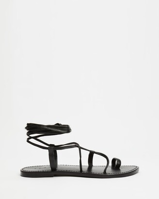 AERE - Women's Black Strappy sandals - Ankle Tie Leather Sandals - Size 5 at The Iconic