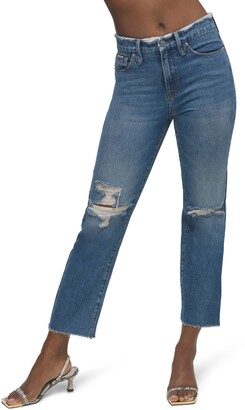 Good American Distressed High Waist Frayed Jeans