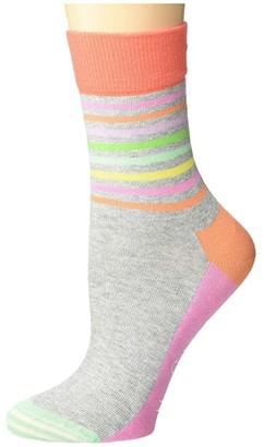 Happy Socks Half Stripe 1/2 Crew Sock (Light Pastel Grey) Women's Crew Cut Socks Shoes