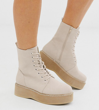 Asos Design DESIGN Wide Fit Alva chunky lace up ankle boots in sand-Beige