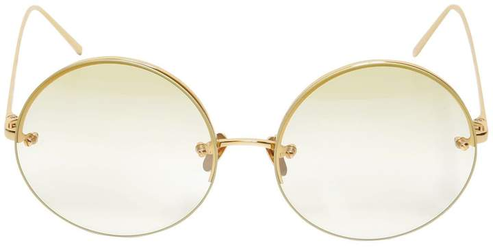 Linda Farrow 565 C9 Round Gold Plated Sunglasses