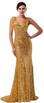 ThaliaDress Sequin Glitter V Neck Long Bridesmaid Dresses Wedding Party Gown T028LF Gold US