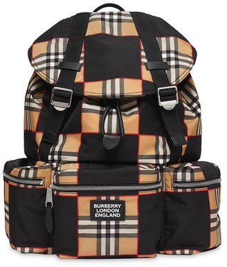 Burberry logo check ECONYL backpack