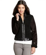 Members Only black faux-shearling, faux-suede, and faux-leather buckle jacket