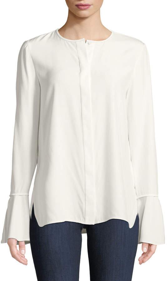 Lafayette 148 New York Plus Size Izzie Matte Silk Blouse w/ Bell Sleeves