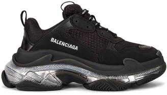 Balenciaga Triple S Clear Sole Sneakers in Black Transparent | FWRD