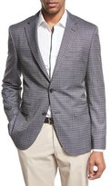 BOSS Grid Check Two-Button Sport Coat, Black/White
