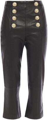 Balmain Button-embellished Leather Kick-flare Pants