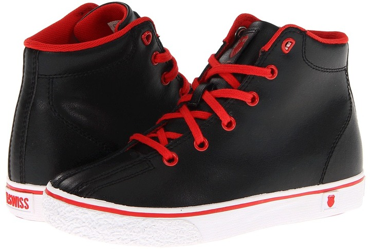 K-Swiss Clean Laguna High VNZ (Toddler/Youth) (Black/White/Red Leather) - Footwear