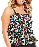 Fit 4 U Plus Size Havana Triple Tiered Tankini