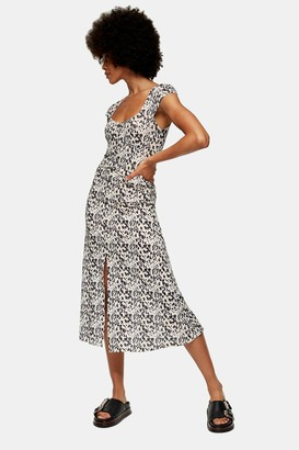 Topshop Womens Natural Animal Print Mesh Midi Dress - Natural