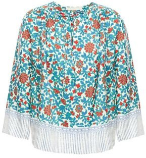 Vanessa Bruno Gathered Printed Silk-satin Blouse