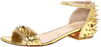 Christian Louboutin Gold Leather Spiked Open Toe Ankle Strap Sandals Size 35.5