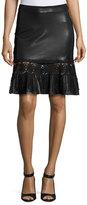 Elie Tahari Dallas Crochet-Trim Leather Skirt, Black