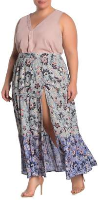 Angie Floral Tiered Vent Maxi Skirt (Plus Size)