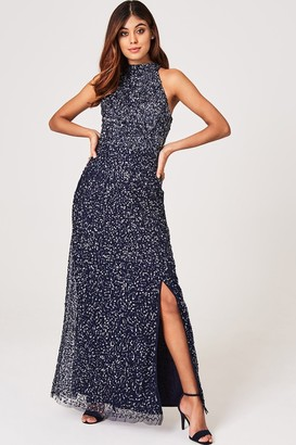 Little Mistress Nicky Navy Sequin Maxi Dress