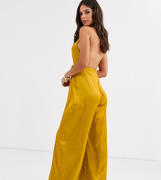 Asos Tall DESIGN Tall ultra plunge jumpsuit with drape satin detail-Yellow