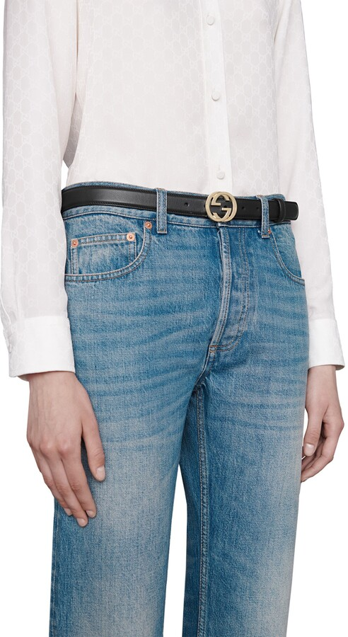 Thumbnail for your product : Gucci Leather belt with interlocking G buckle