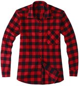 Tortor 1bacha Men's Long Sleeve Button Down Plaid Flannel Shirt Red Black