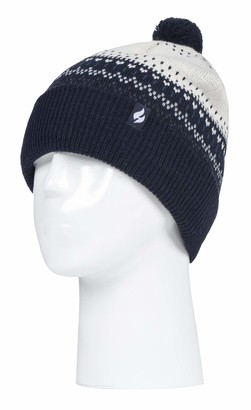 HEAT HOLDERS - Ladies/Womens Retro Knitted Beanie Bobble Hat with Small Faux Fur Pom Pom (One Size