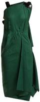 Roland Mouret Cedrela Silk Blend-jacquard Asymmetric Midi Dress - Womens - Green