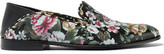 Alexander McQueen Floral-print Leather Loafers - Black