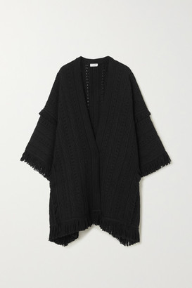 Saint Laurent Fringed Crochet-knit Wool Cape - Black