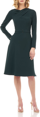 Kay Unger New York Lennox Belted Stretch Crepe Dress w/ Fold-over Pleats