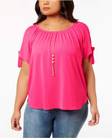 INC International Concepts I.N.C. Plus Size Cold-Shoulder Bows Top, Created for Macy's