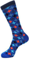 Jared Lang Diamond-Print Cotton-Blend Socks, Blue Pattern