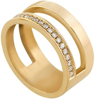 Edge Only 14Ct Gold Diamond Pave Parallel Ring | Eternity Band