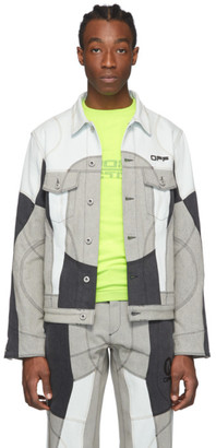 Off-White Blue and Grey Denim Arrows Climber Jacket