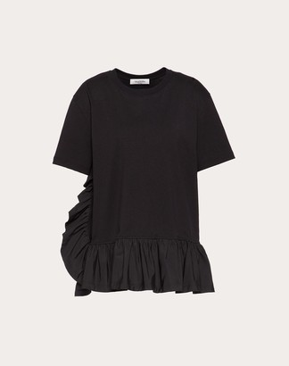 Valentino Jersey And Micro-faille T-shirt Women Black Viscose 75%, Elastane 8% L